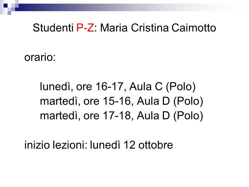 Studenti P-Z: Maria Cristina Caimotto