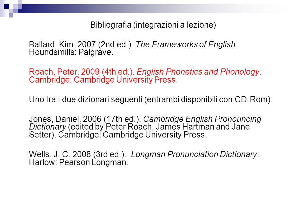 Bibliografia (integrazioni a lezione)
