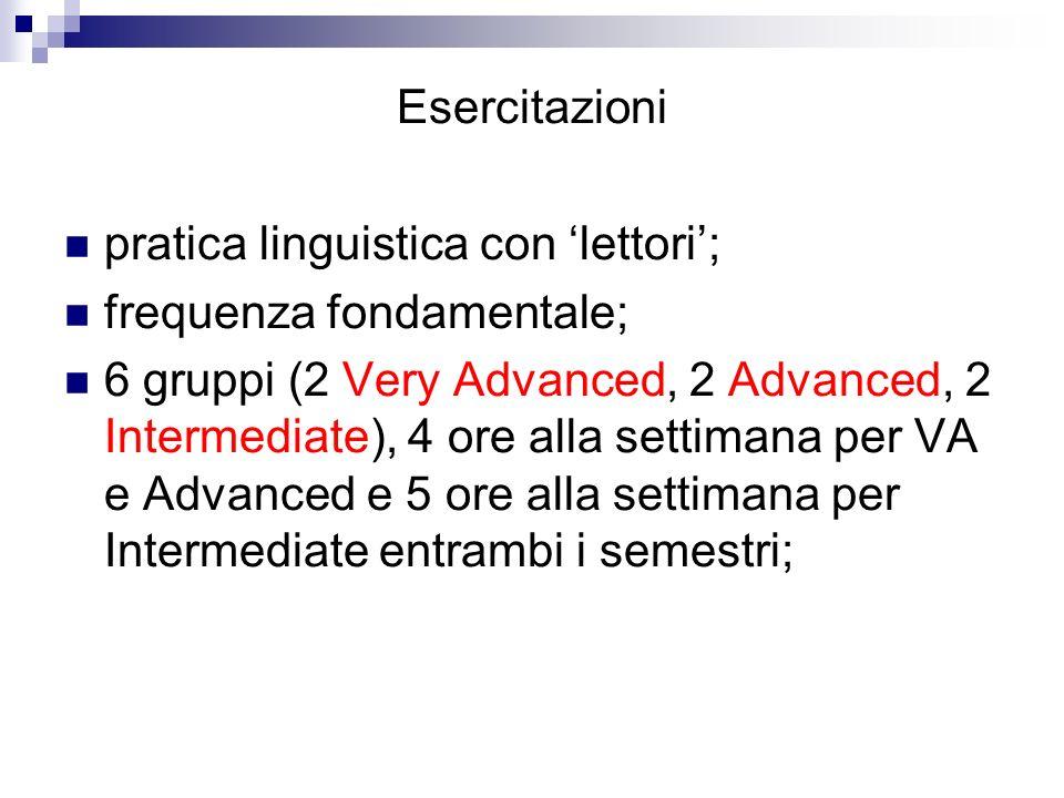 Esercitazioni pratica linguistica con 'lettori'; frequenza fondamentale;