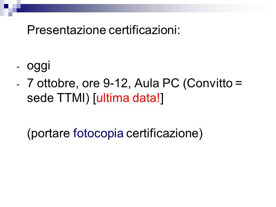 Presentazione certificazioni: