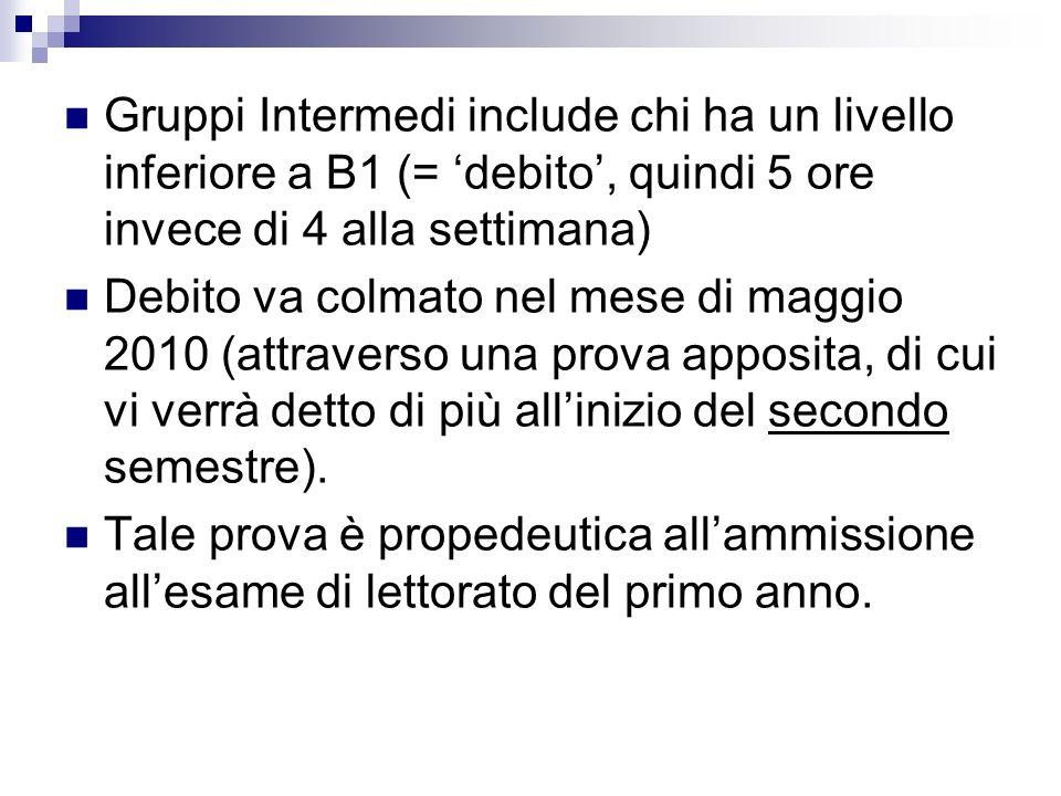 Gruppi Intermedi include chi ha un livello inferiore a B1 (= 'debito', quindi 5 ore invece di 4 alla settimana)
