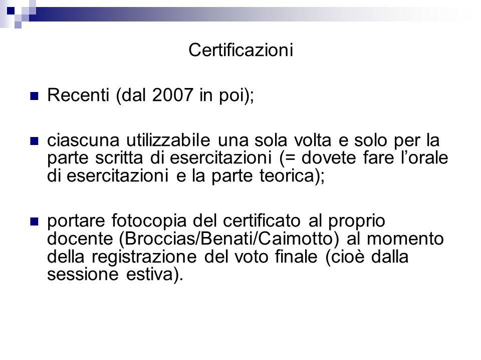 Certificazioni Recenti (dal 2007 in poi);