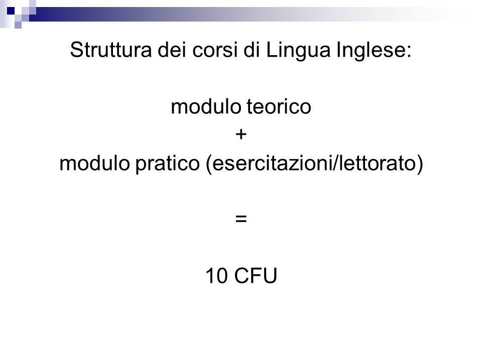 Struttura dei corsi di Lingua Inglese: modulo teorico +