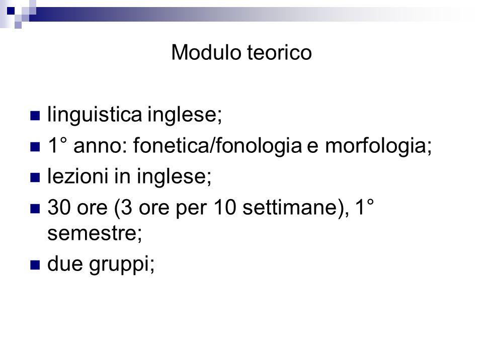 Modulo teorico linguistica inglese; 1° anno: fonetica/fonologia e morfologia; lezioni in inglese;