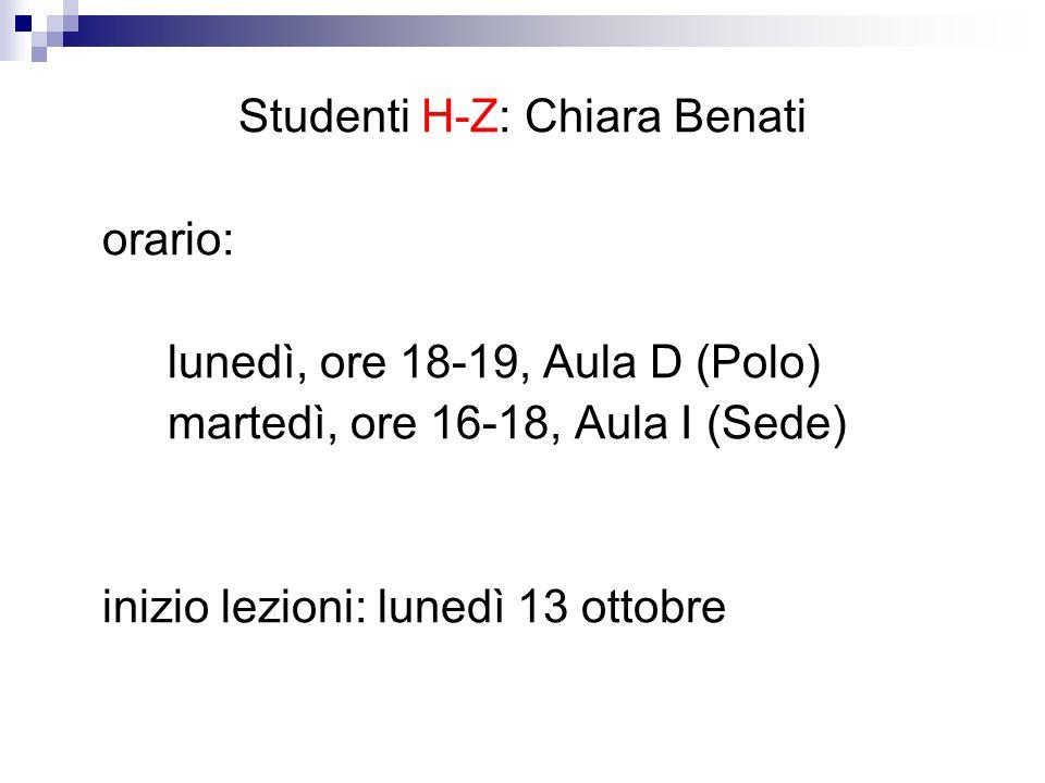 Studenti H-Z: Chiara Benati
