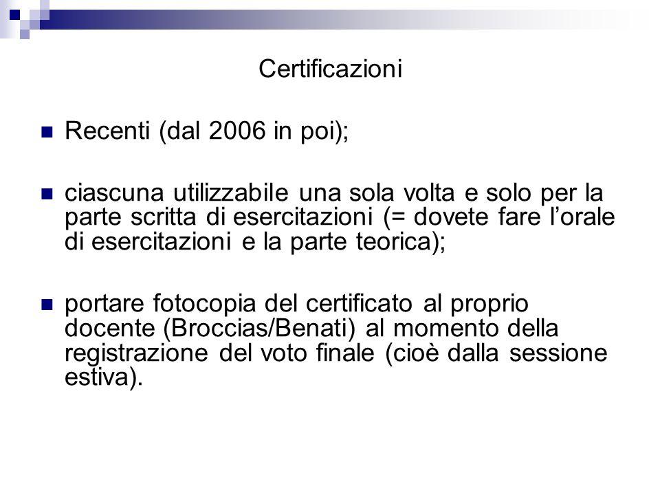 Certificazioni Recenti (dal 2006 in poi);