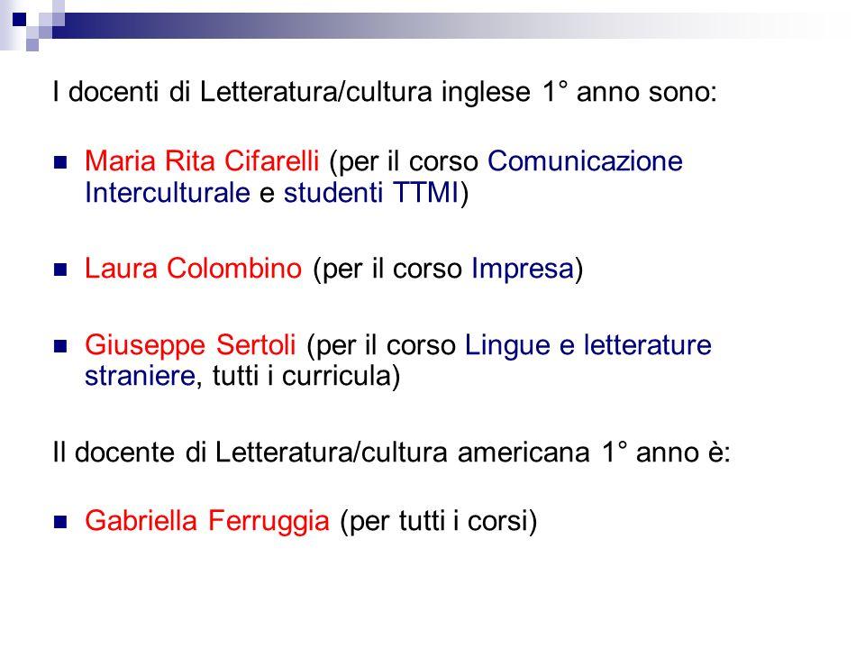 I docenti di Letteratura/cultura inglese 1° anno sono: