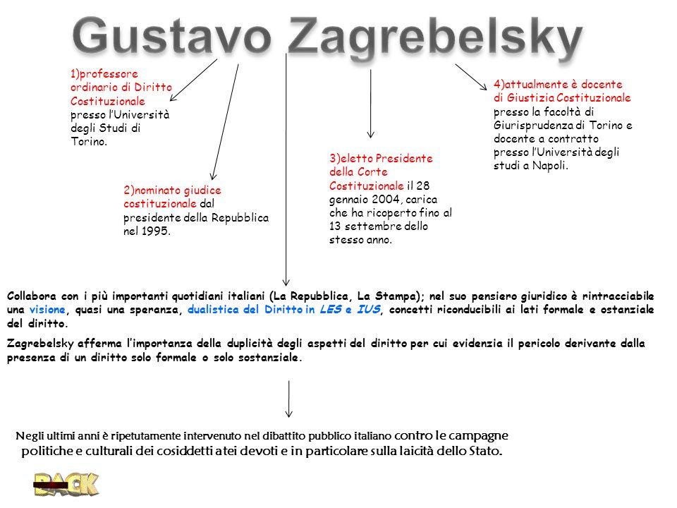 Gustavo Zagrebelsky 1)professore ordinario di Diritto Costituzionale presso l'Università degli Studi di Torino.