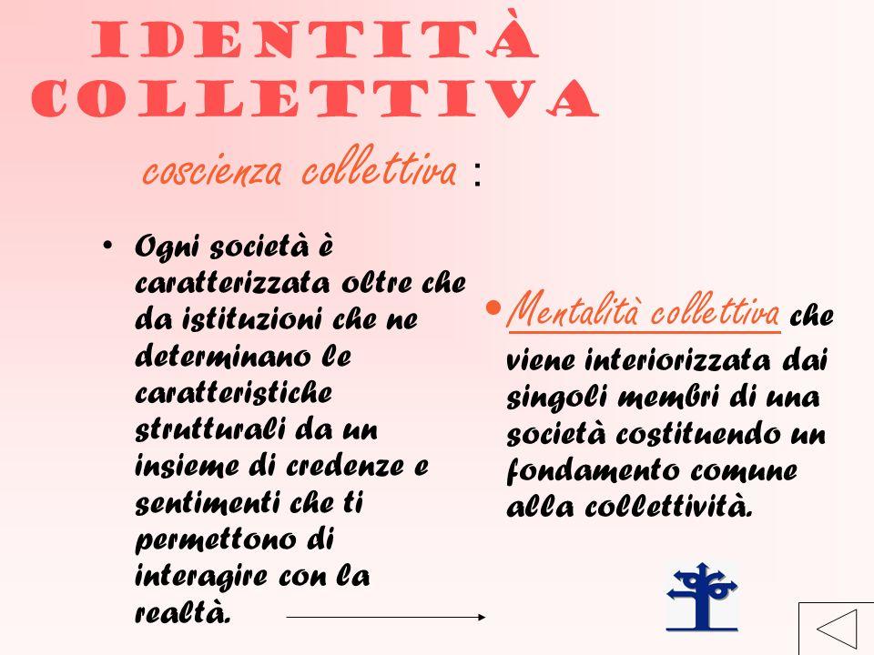 Identità collettiva coscienza collettiva :