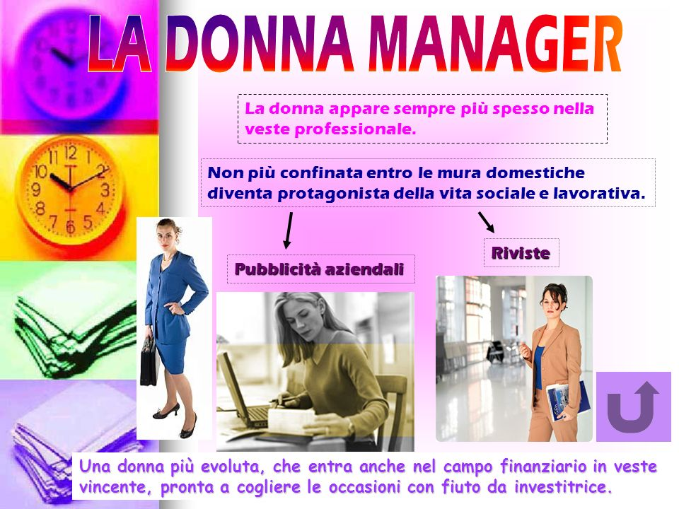 LA DONNA MANAGER La donna appare sempre più spesso nella veste professionale.