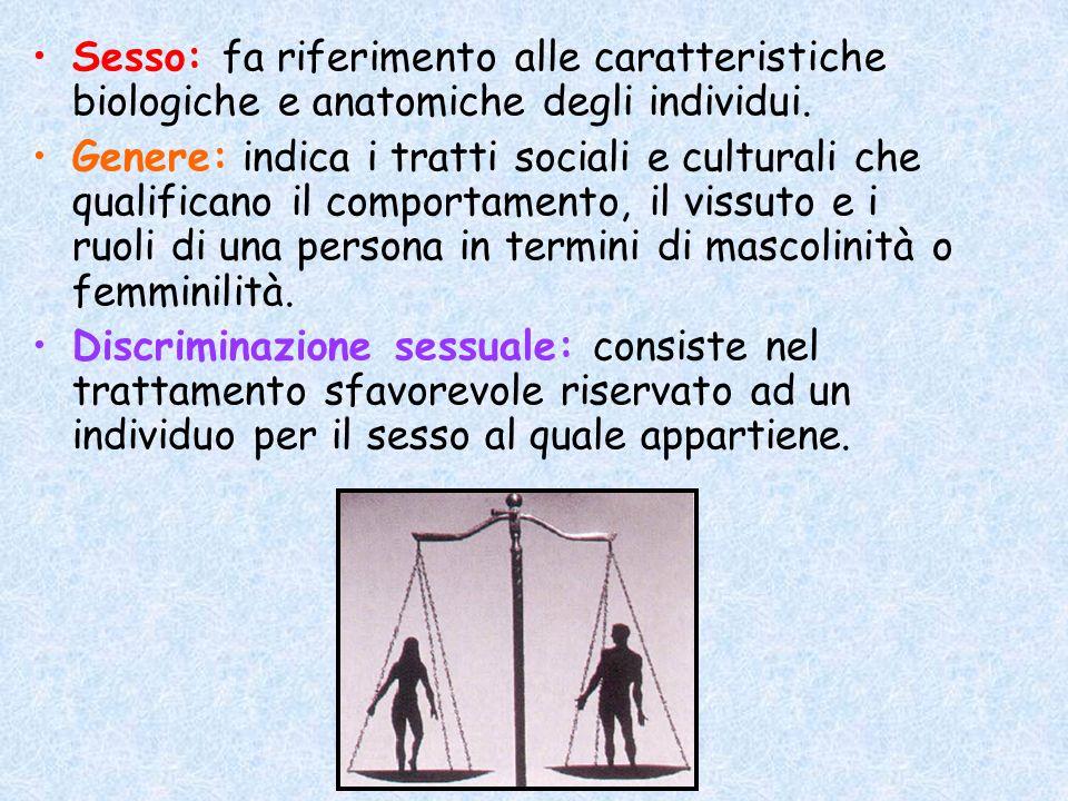 Sesso: fa riferimento alle caratteristiche biologiche e anatomiche degli individui.