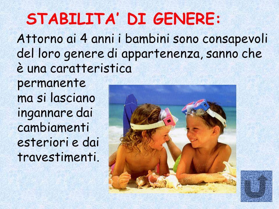 STABILITA' DI GENERE: Attorno ai 4 anni i bambini sono consapevoli del loro genere di appartenenza, sanno che è una caratteristica.