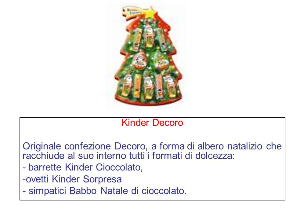 Kinder Decoro Originale confezione Decoro, a forma di albero natalizio che racchiude al suo interno tutti i formati di dolcezza: