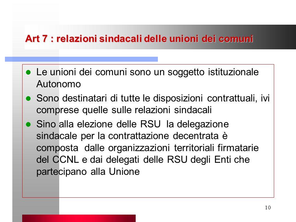 Art 7 : relazioni sindacali delle unioni dei comuni