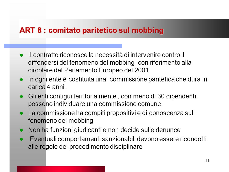 ART 8 : comitato paritetico sul mobbing