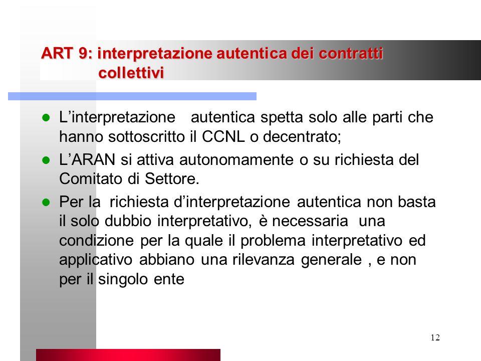 ART 9: interpretazione autentica dei contratti collettivi