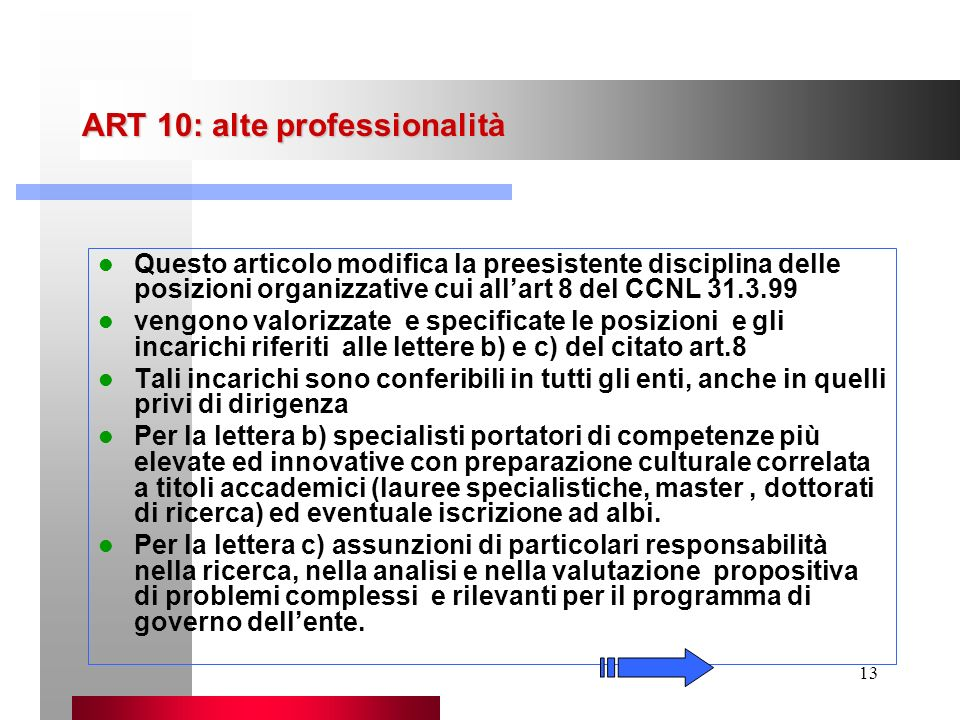 ART 10: alte professionalità