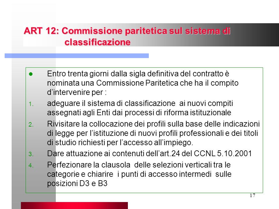 ART 12: Commissione paritetica sul sistema di classificazione