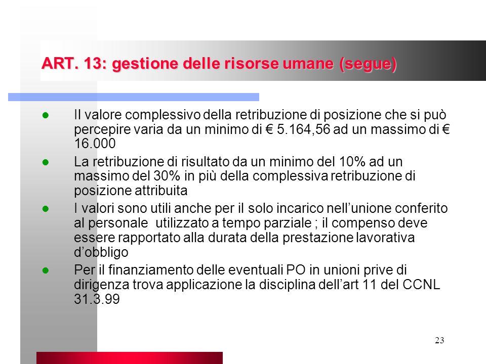 ART. 13: gestione delle risorse umane (segue)