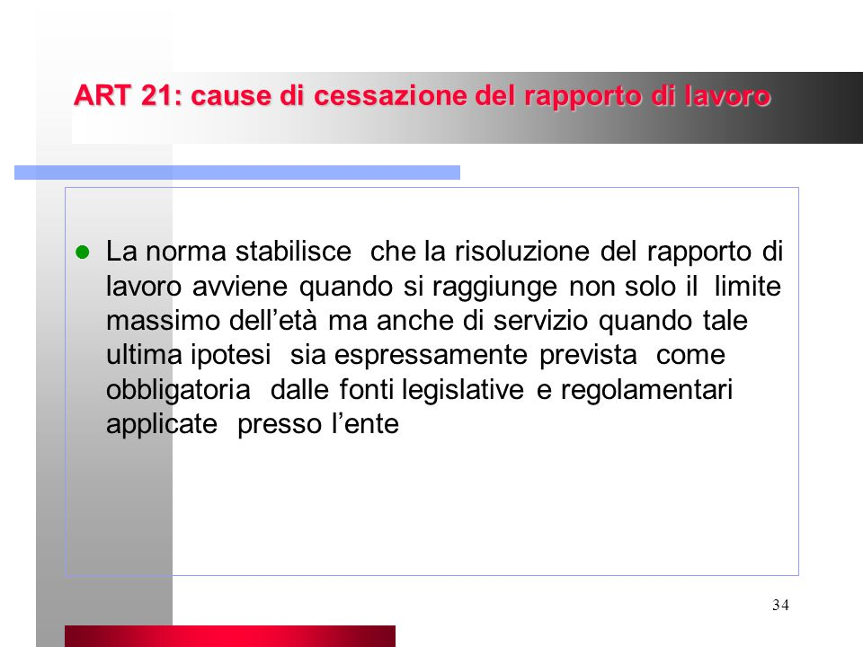 ART 21: cause di cessazione del rapporto di lavoro