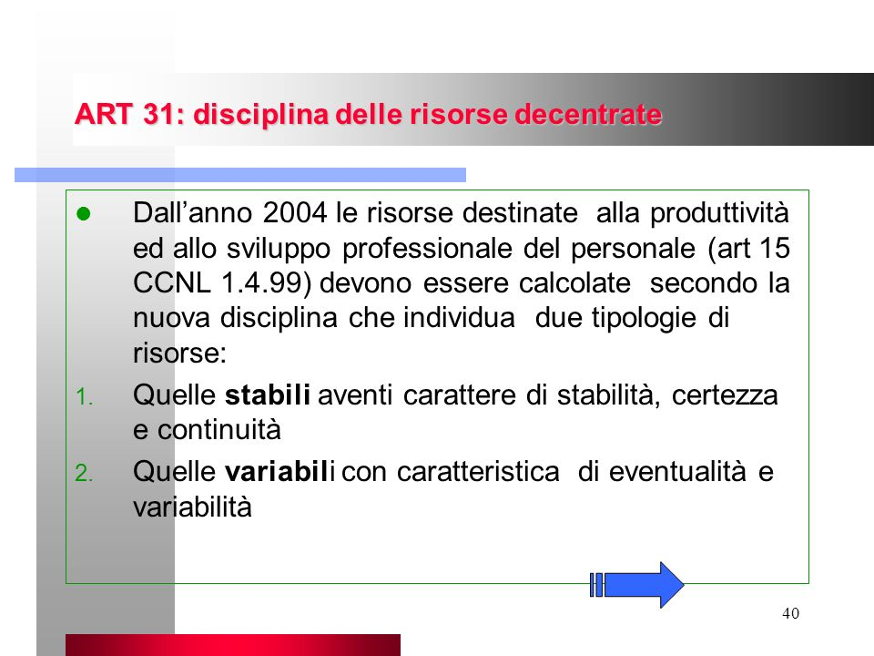 ART 31: disciplina delle risorse decentrate