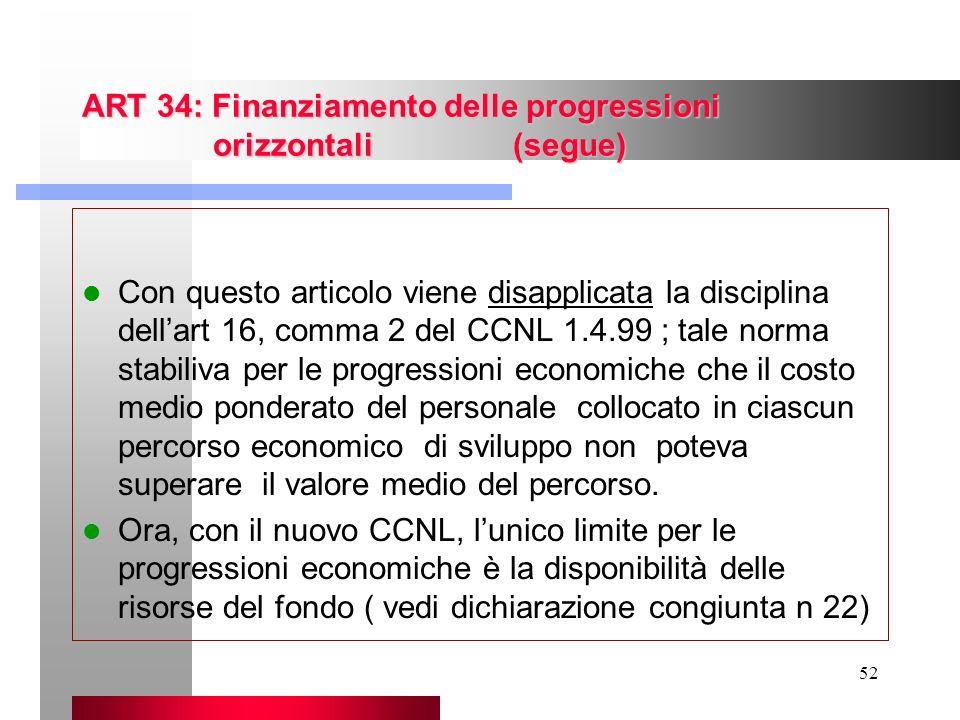 ART 34: Finanziamento delle progressioni orizzontali (segue)