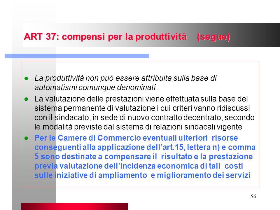 ART 37: compensi per la produttività (segue)