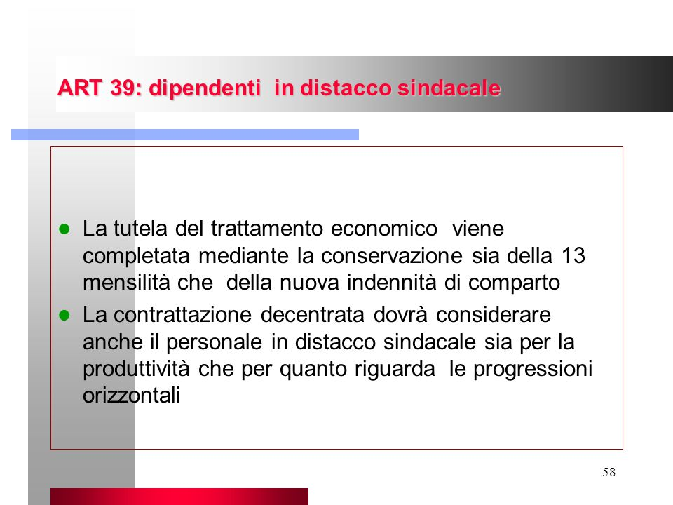 ART 39: dipendenti in distacco sindacale
