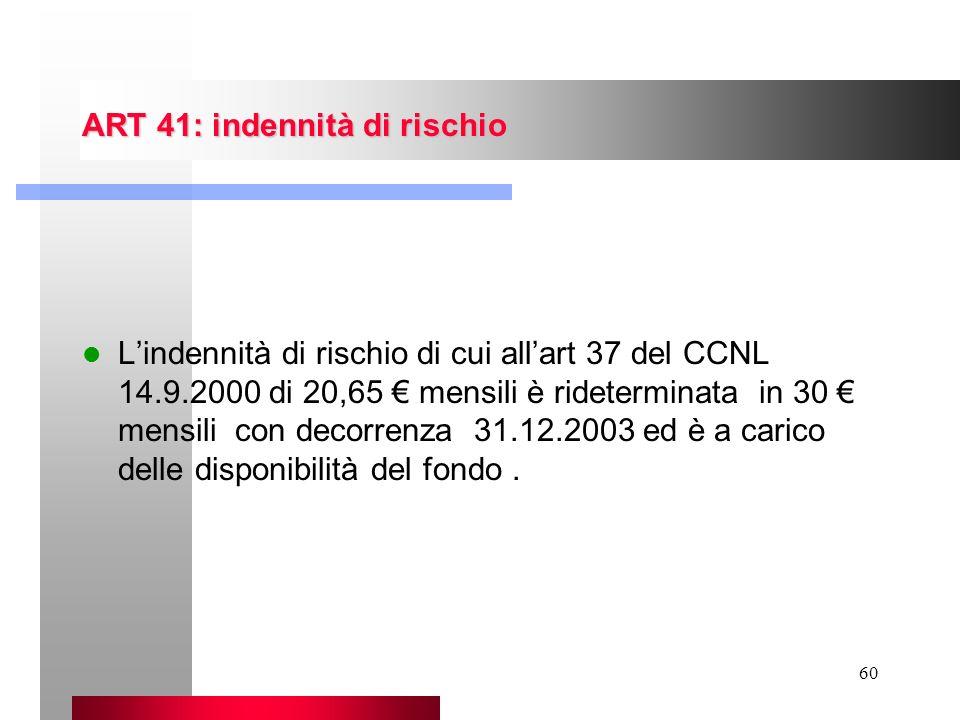 ART 41: indennità di rischio