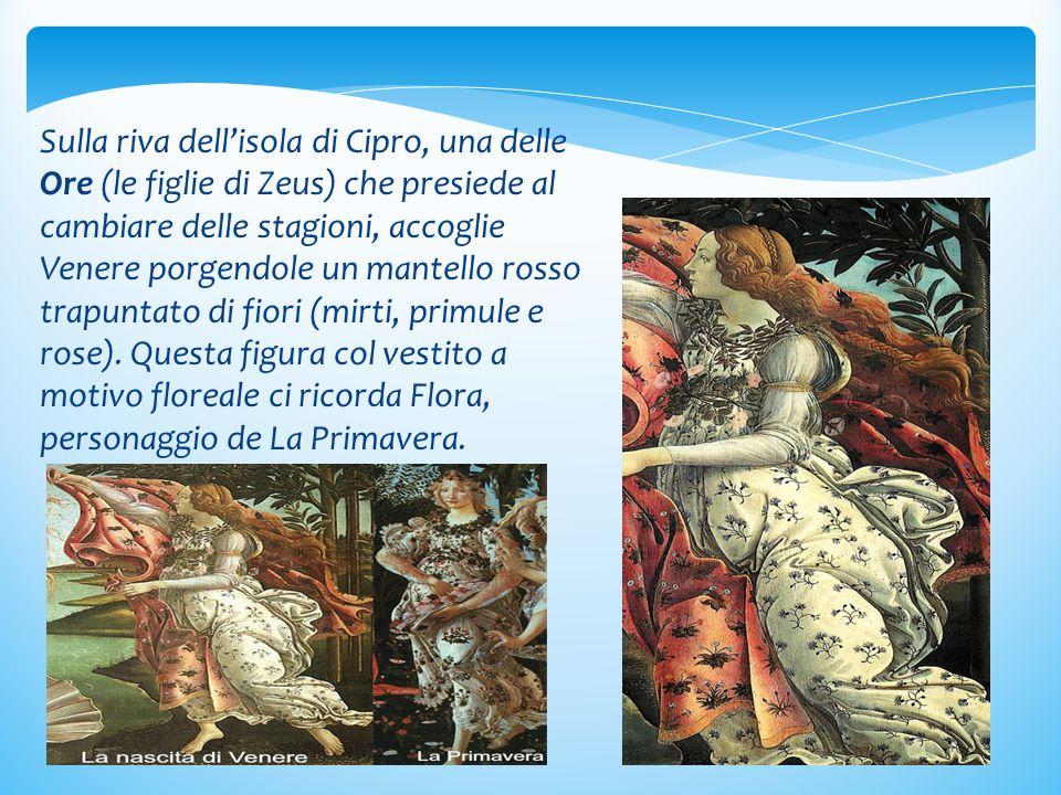 Sulla riva dell'isola di Cipro, una delle Ore (le figlie di Zeus) che presiede al cambiare delle stagioni, accoglie Venere porgendole un mantello rosso trapuntato di fiori (mirti, primule e rose).