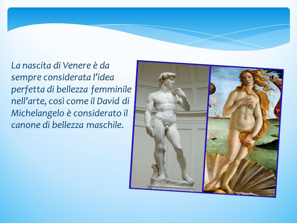 La nascita di Venere è da sempre considerata l'idea perfetta di bellezza femminile nell'arte, così come il David di Michelangelo è considerato il canone di bellezza maschile.