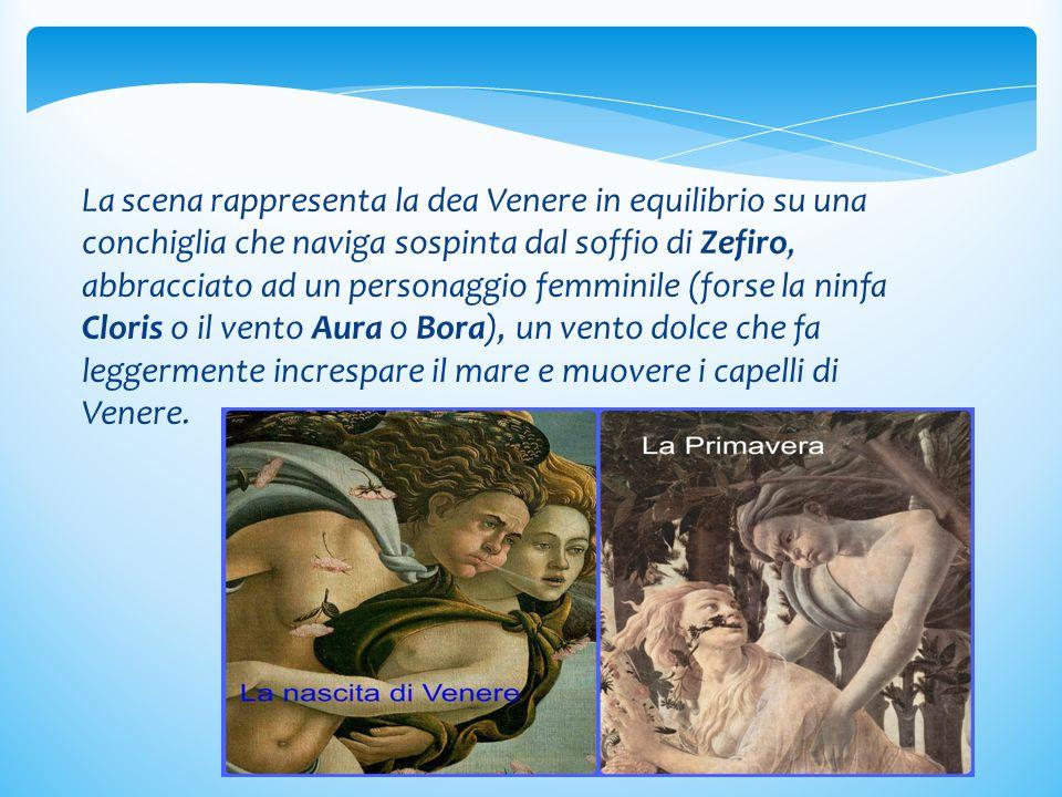 La scena rappresenta la dea Venere in equilibrio su una conchiglia che naviga sospinta dal soffio di Zefiro, abbracciato ad un personaggio femminile (forse la ninfa Cloris o il vento Aura o Bora), un vento dolce che fa leggermente increspare il mare e muovere i capelli di Venere.
