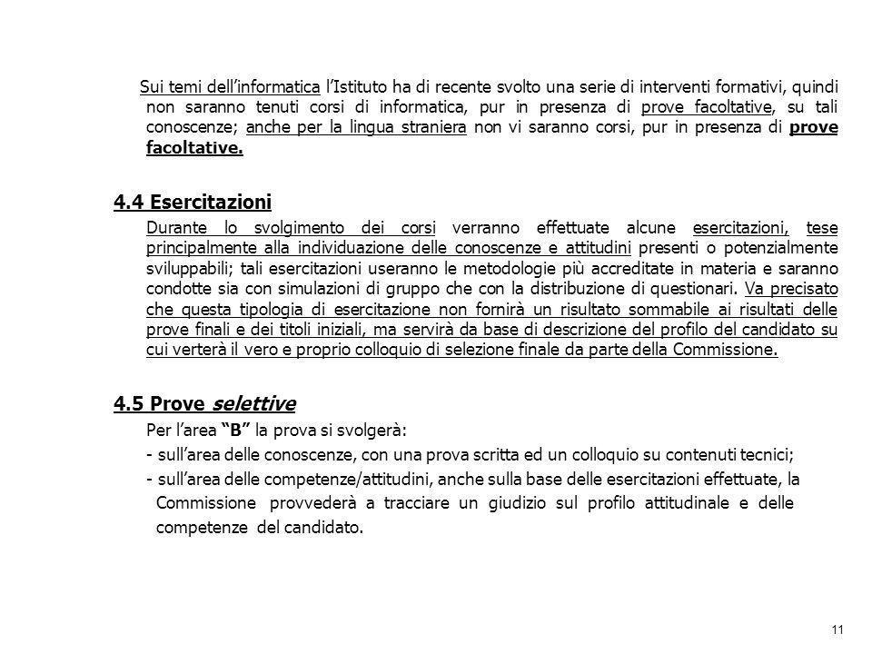 4.4 Esercitazioni 4.5 Prove selettive