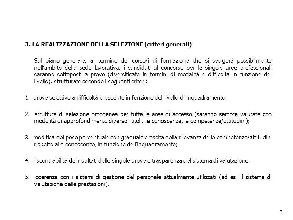 3. LA REALIZZAZIONE DELLA SELEZIONE (criteri generali)