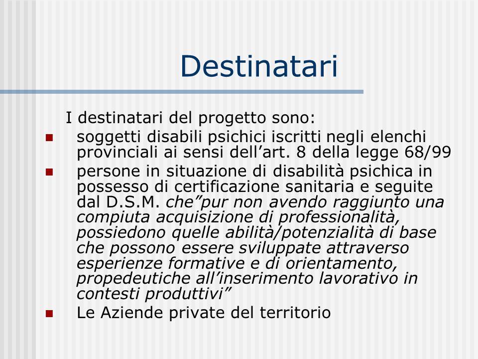 DestinatariI destinatari del progetto sono: soggetti disabili psichici iscritti negli elenchi provinciali ai sensi dell'art. 8 della legge 68/99.