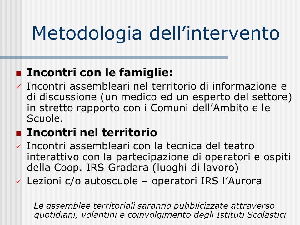 Metodologia dell'intervento