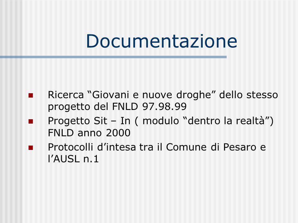 Documentazione Ricerca Giovani e nuove droghe dello stesso progetto del FNLD 97.98.99.