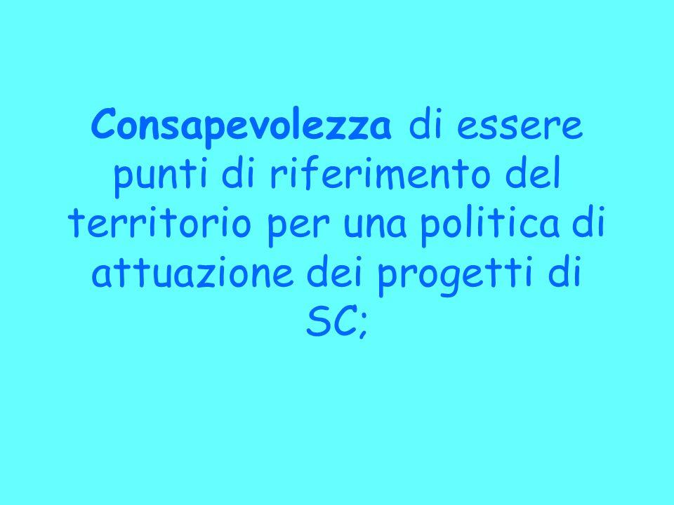 Consapevolezza di essere punti di riferimento del territorio per una politica di attuazione dei progetti di SC;