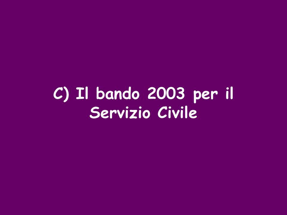 C) Il bando 2003 per il Servizio Civile