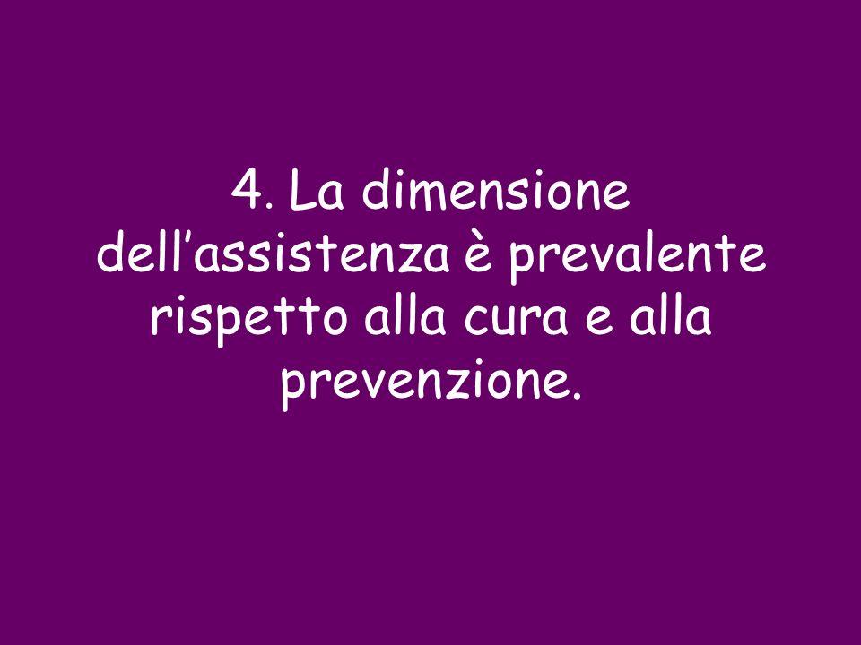 4. La dimensione dell'assistenza è prevalente rispetto alla cura e alla prevenzione.