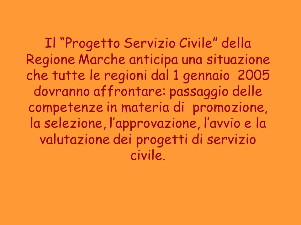 Il Progetto Servizio Civile della Regione Marche anticipa una situazione che tutte le regioni dal 1 gennaio 2005 dovranno affrontare: passaggio delle competenze in materia di promozione, la selezione, l'approvazione, l'avvio e la valutazione dei progetti di servizio civile.