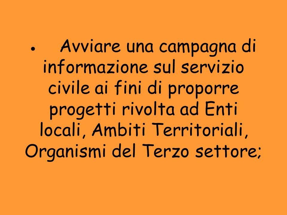 · Avviare una campagna di informazione sul servizio civile ai fini di proporre progetti rivolta ad Enti locali, Ambiti Territoriali, Organismi del Terzo settore;