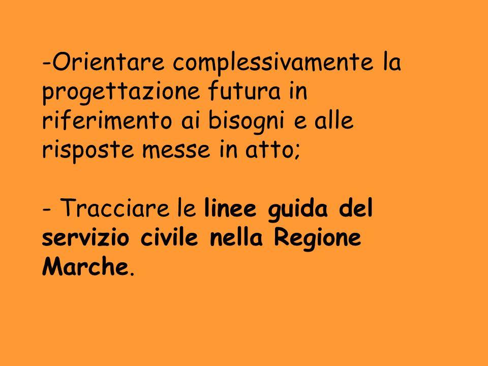 Orientare complessivamente la progettazione futura in riferimento ai bisogni e alle risposte messe in atto; - Tracciare le linee guida del servizio civile nella Regione Marche.