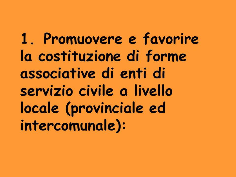 1. Promuovere e favorire la costituzione di forme associative di enti di servizio civile a livello locale (provinciale ed intercomunale):