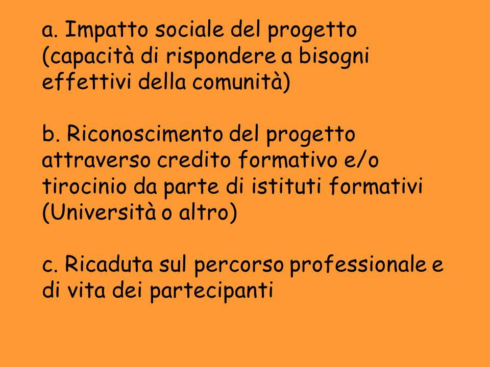 a. Impatto sociale del progetto (capacità di rispondere a bisogni effettivi della comunità) b.