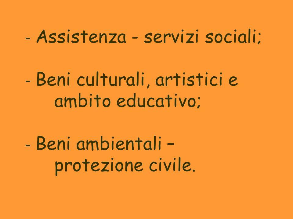- Assistenza - servizi sociali; - Beni culturali, artistici e