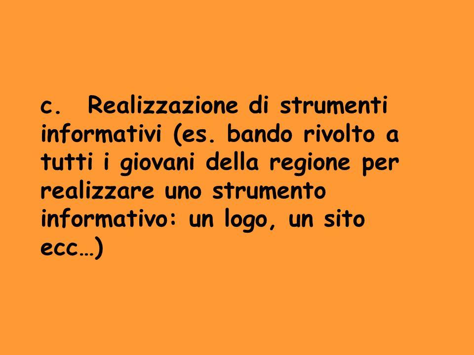 c. Realizzazione di strumenti informativi (es