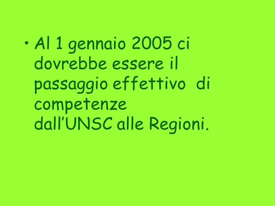 Al 1 gennaio 2005 ci dovrebbe essere il passaggio effettivo di competenze dall'UNSC alle Regioni.