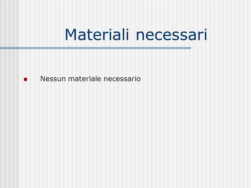 Materiali necessari Nessun materiale necessario