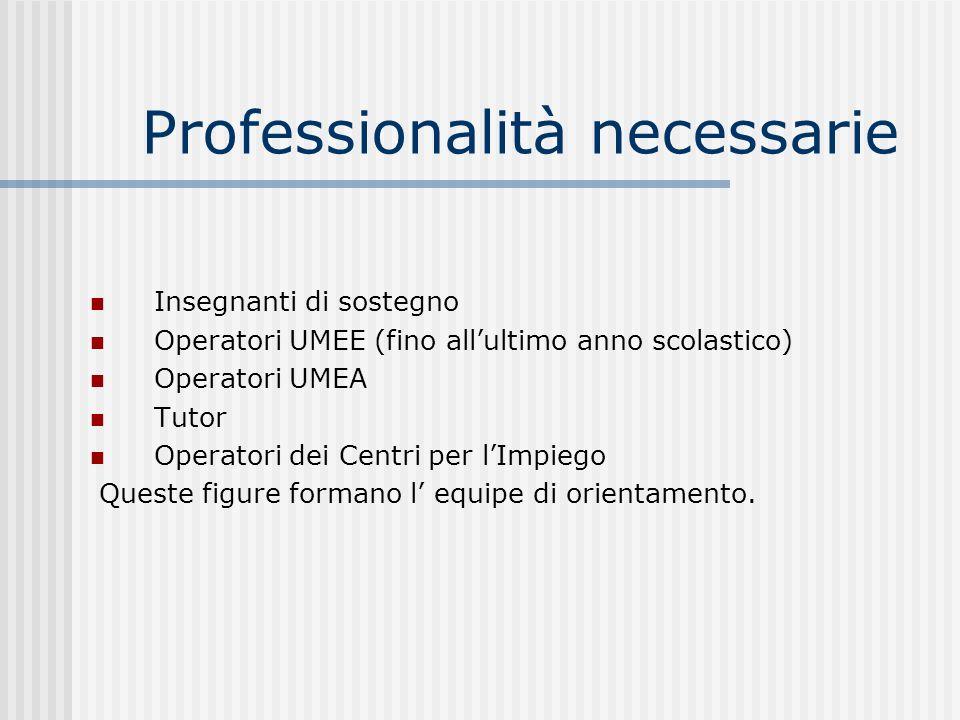 Professionalità necessarie